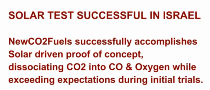 <i>NewCO2Fuels (NCF) Solar Testing</i> - Converting CO2 to CO using solar energy, May 26th, 2014